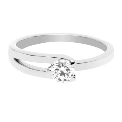 AMOUR FOU RING - Platinum ring with a white diamond