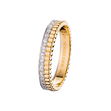 QUATRE RADIANT EDITION WEDDING BAND - Band set with pavé diamonds, in yellow gold and white gold