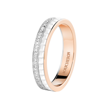 QUATRE WHITE EDITION WEDDING BAND - Band set with pavé diamonds, in pink gold, white gold and ceramic