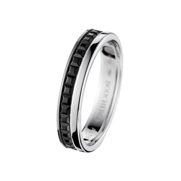 QUATRE BLACK EDITION WEDDING BAND -  Band in white gold and black PVD