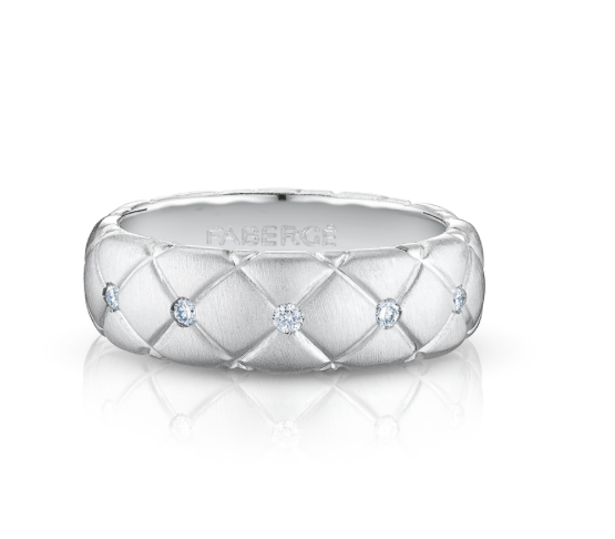 TREILLAGE DIAMOND WHITE GOLD THIN RING - Brushed white gold ring features round white diamonds