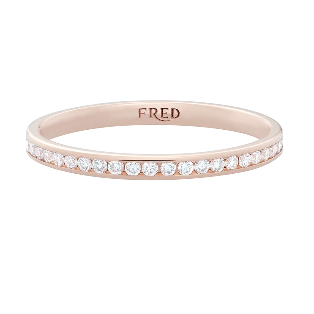 FRED FOR LOVE HALF PAVED DIAMONDS WEDDING BAND HALF PAVED DIAMONDS IN PINK GOLD - half paved diamonds band half paved diamonds in pink gold and white diamonds