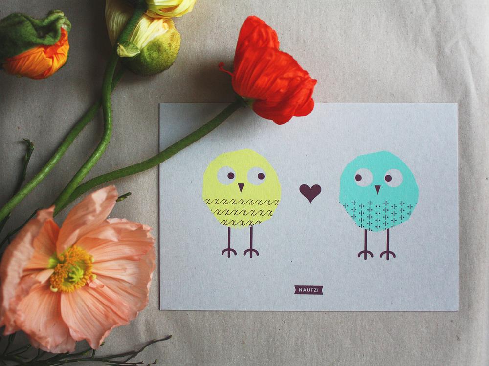 Eulen auf Papier, Owls on Paper, Siebdruck, Screenprinting