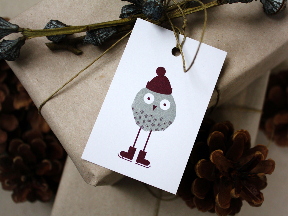 Weihnachtskarte mit Eulen / Christmas Card with Owls