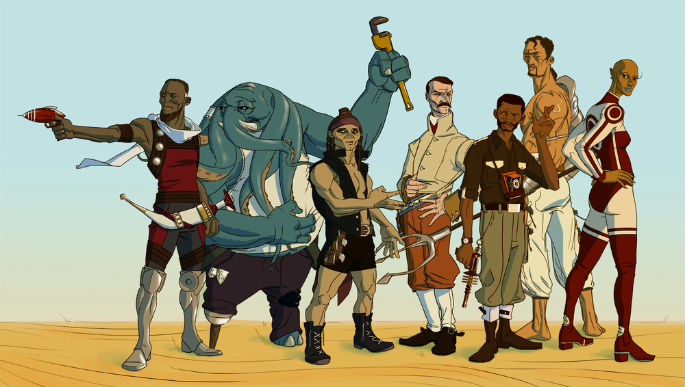 The Jupiter Jonah cast, from left to right; Denarii, Blass, Rashidi, Stein, Jonah, Prospero, and Funlola - Art by Shof