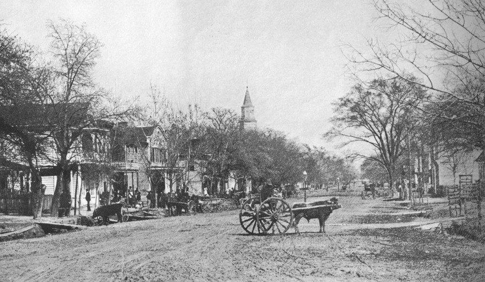 Duke of Gloucester Street (Main Street) facing east.  Taken from the modern intersection of Richmond Rd, Jamestown Rd, and Boundary Streets. C.1870