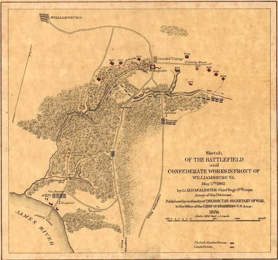 "McAlester, Miles D. ""Sketch of the Battlefield and Confederate Works in Front of Williamsburg, Va., May 5th 1862."" Library of Congress, www.loc.gov/item/99446371/."