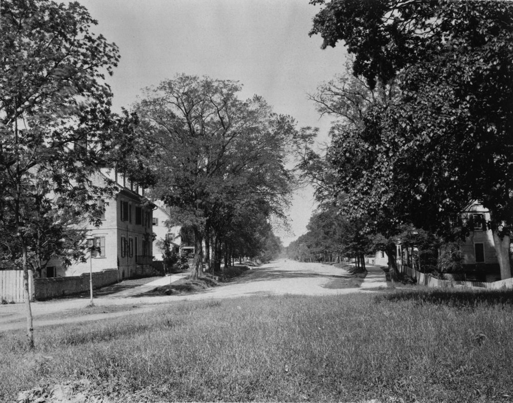 View from the old Capitol site looking west on Main Street, ca. 1905-1921 (Vest Mansion on left)