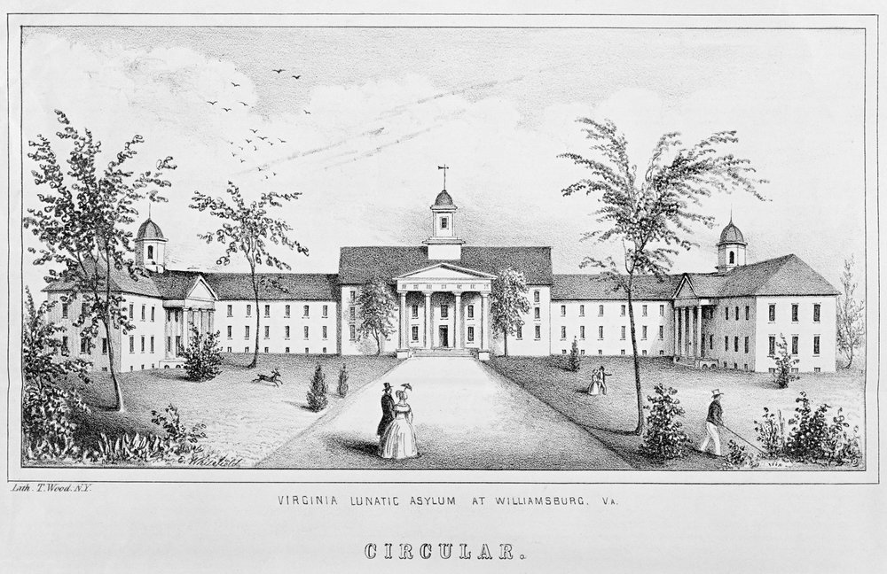 Lithograph of the Lunatic Asylum, ca. 1845