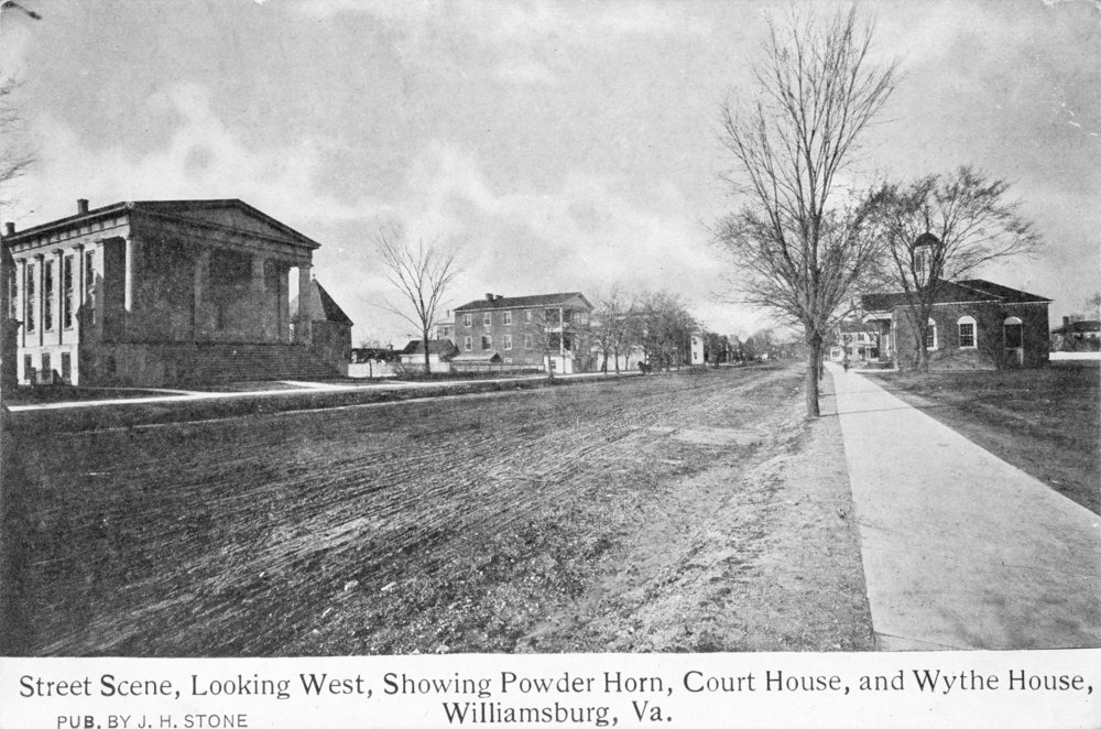 View of Market Square looking west, ca. 1898-1902 (Baptist Church, Powder Horn, and District Courthouse on left and 1770 Courthouse on right)