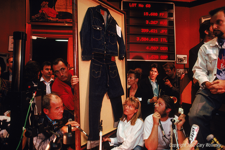 "An auction of ""vintage"" Levi blue jeans in Paris, France."