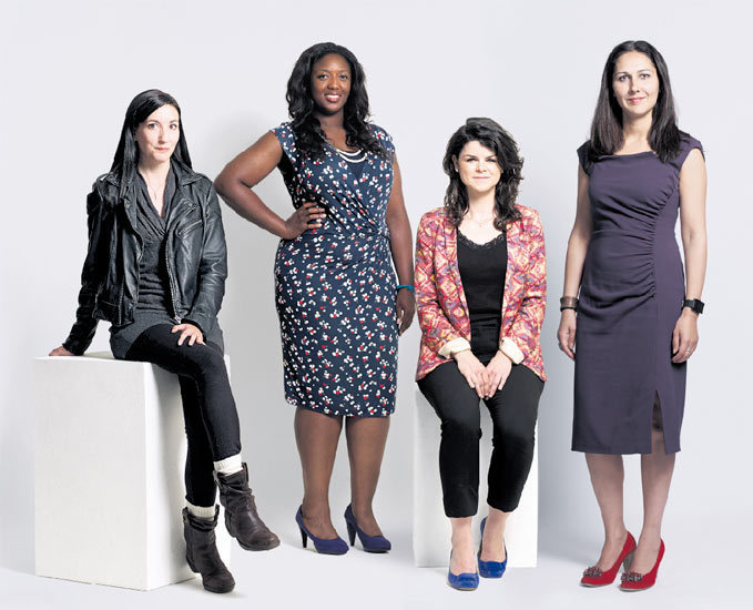 Image: (from l-r) Michelle Brideau, junior developer at Enternships; Anne-Marie Imafidon, creator of Stemettes; Alice Bentinck, co-founder of Entrepreneur First; and Belinda Parmar, founder and CEO of Lady Geek. Photograph: Suki Dhanda for the Observer.