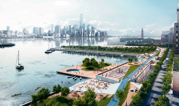 """Photo from NYTimes: """"A development concept for Hoboken, which includes barriers, pumps and a belt of parkland to soak up water (plan by the OMA team)."""""""