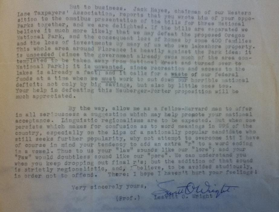 "Professor Leavitt O. Wright to John F. Kennedy, June 29, 1960.Folder 3, ""Cape Cod, 7/60,""  Senate Files, Legislation, Legislation Files 1953-1960, 1960, Cape Cod – Cawley, Richard S.   Box No. 731."