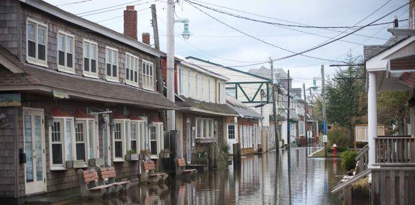 Ocean Beach, New York (a FIre Island hamlet) flooding after Sandy in 2012. Photo credit Daniel Goodrich, Newsday.