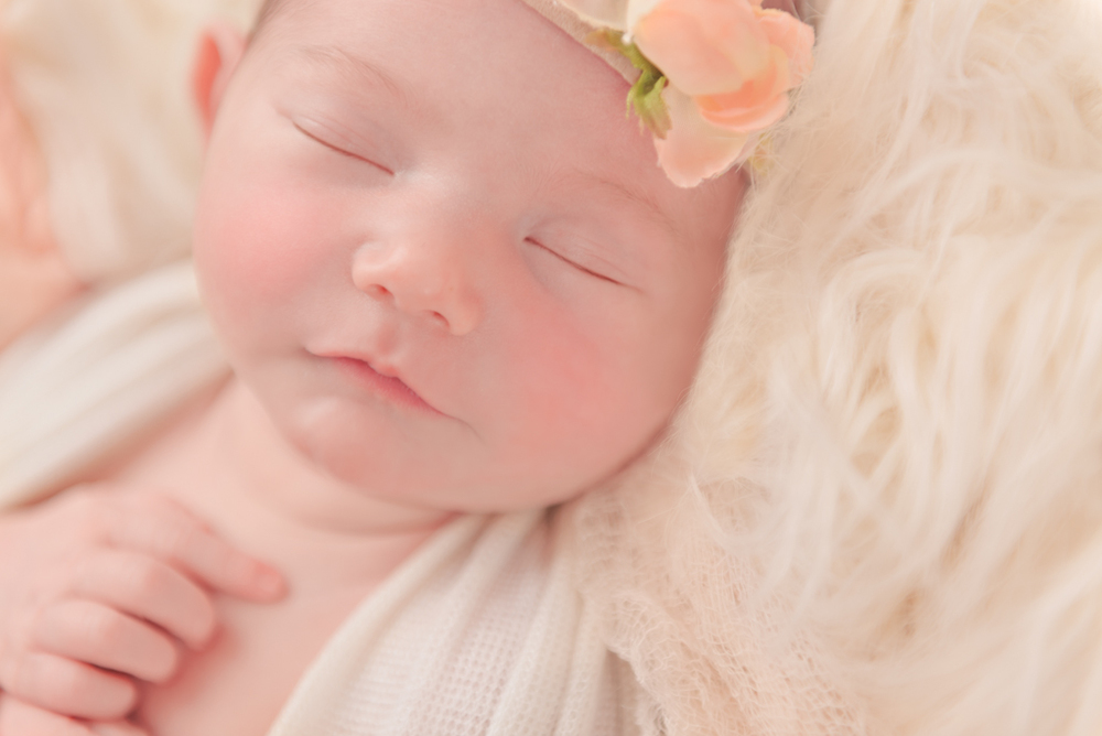 baby face - handmade newborn headband - Louisa Nickel Photography