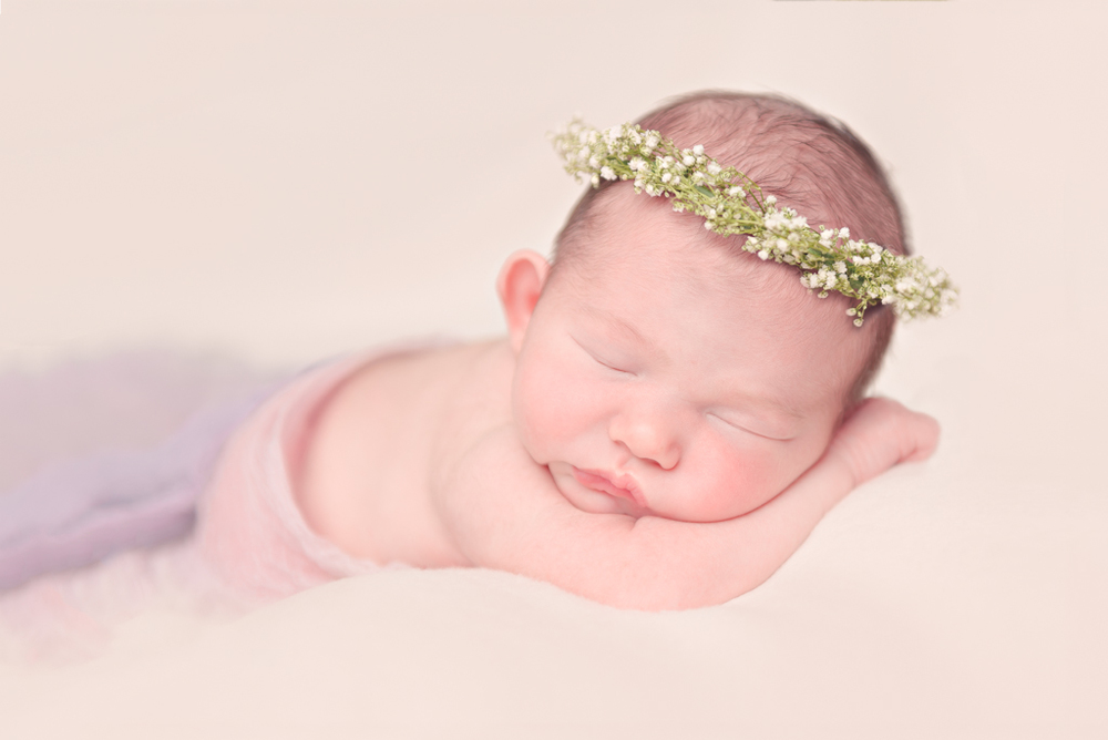 DIY floral crow - babies breath - purple newborn wrap - Louisa Nickel Photography