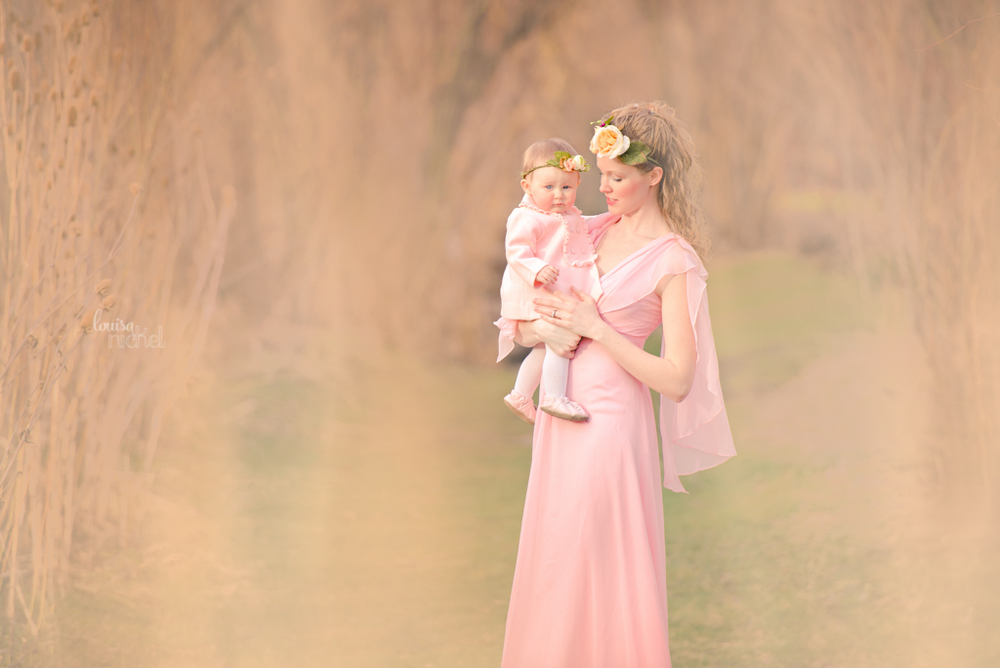 mom and baby - flowing dress - dreamy backdrop - Louisa Nickel Photography