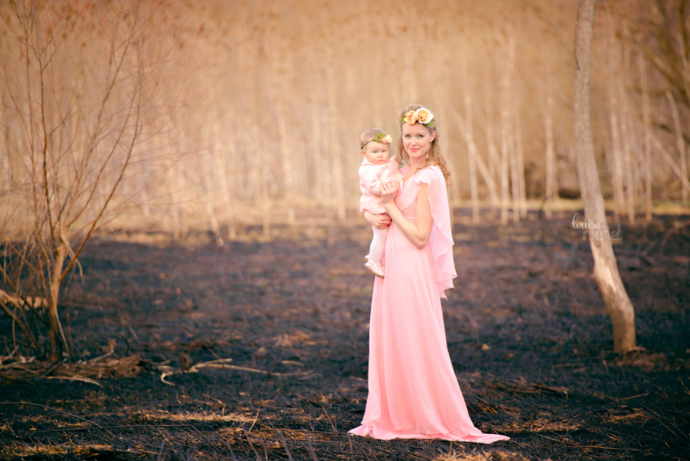mother and daughter - pink dresses - burnt field - poses - Louisa Nickel Photography