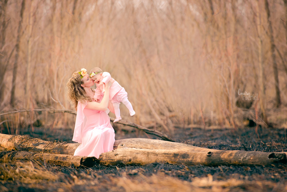 mother and daughter - pink gown - forest pose - Louisa Nickel Photography