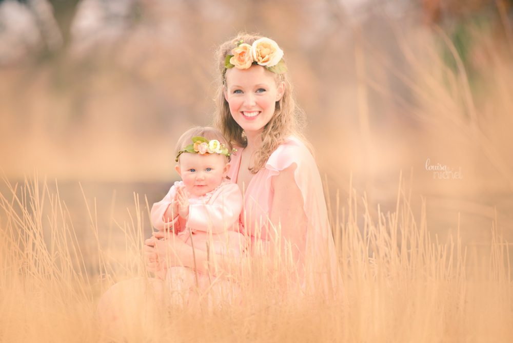 mother and baby - vintage dress - dreamy - tall grass - Louisa Nickel Photography