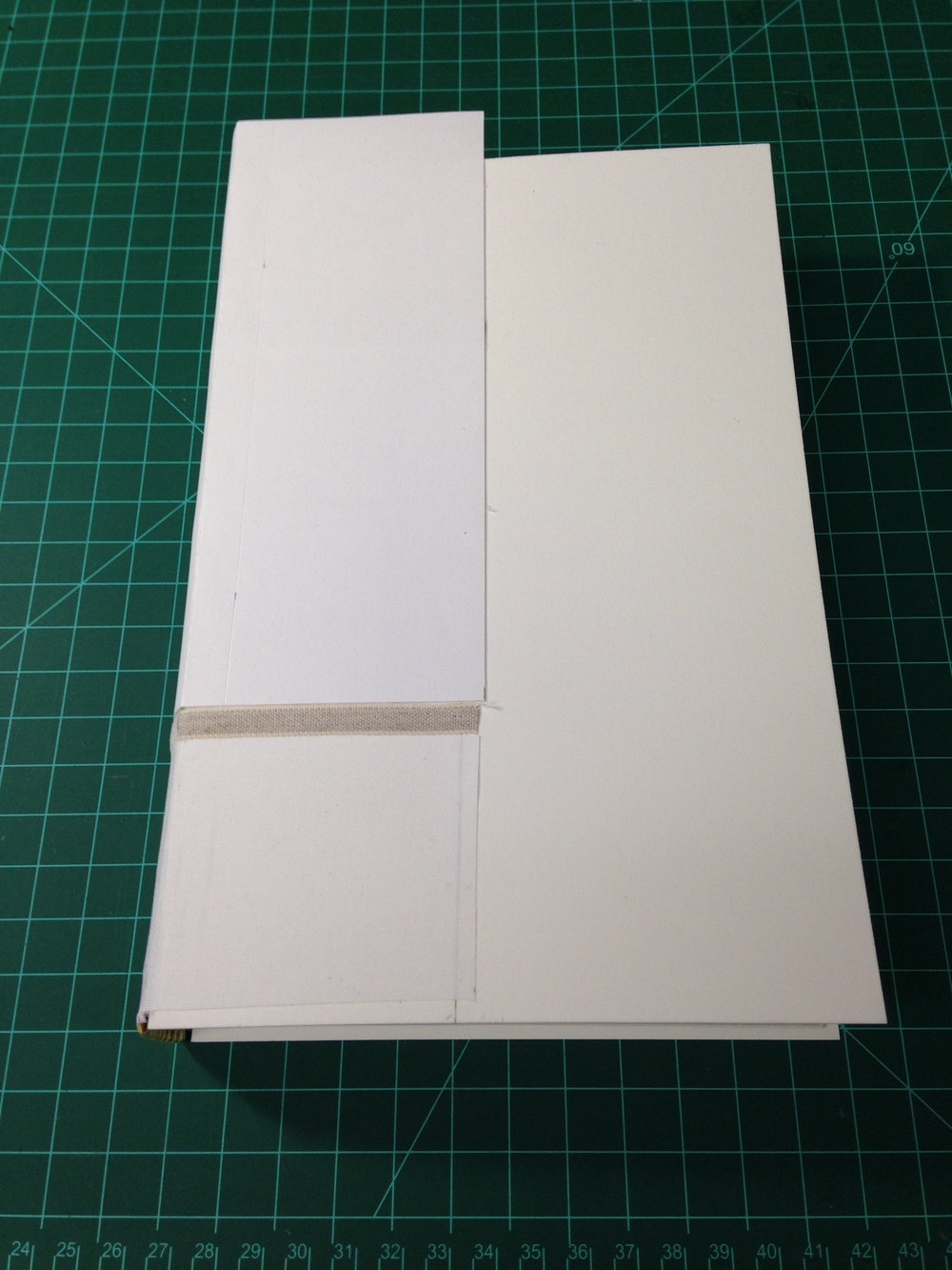 The spine stiffener extends beyond the square of the book at the head but will be trimmed later after forming the spring. I decided to turn my book into a cutaway teaching model, exposing about 1/3 of the book at the tail end.