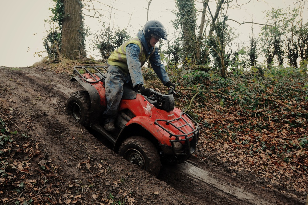 Hills and Obstacles at Tile Farm Off Road Woodland Quad Bike Trek