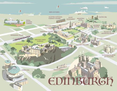 Edinburgh, Scotland – Aerial Map — Dave Thompson Illustration