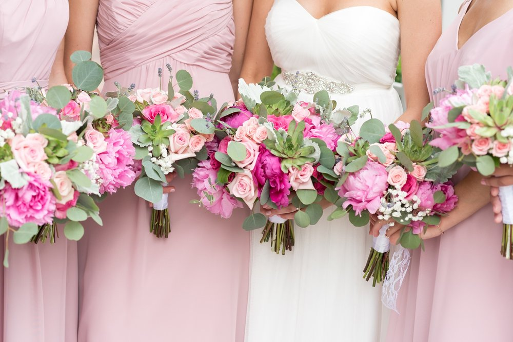 General sutter bride and bridesmaids flowers photo in pink