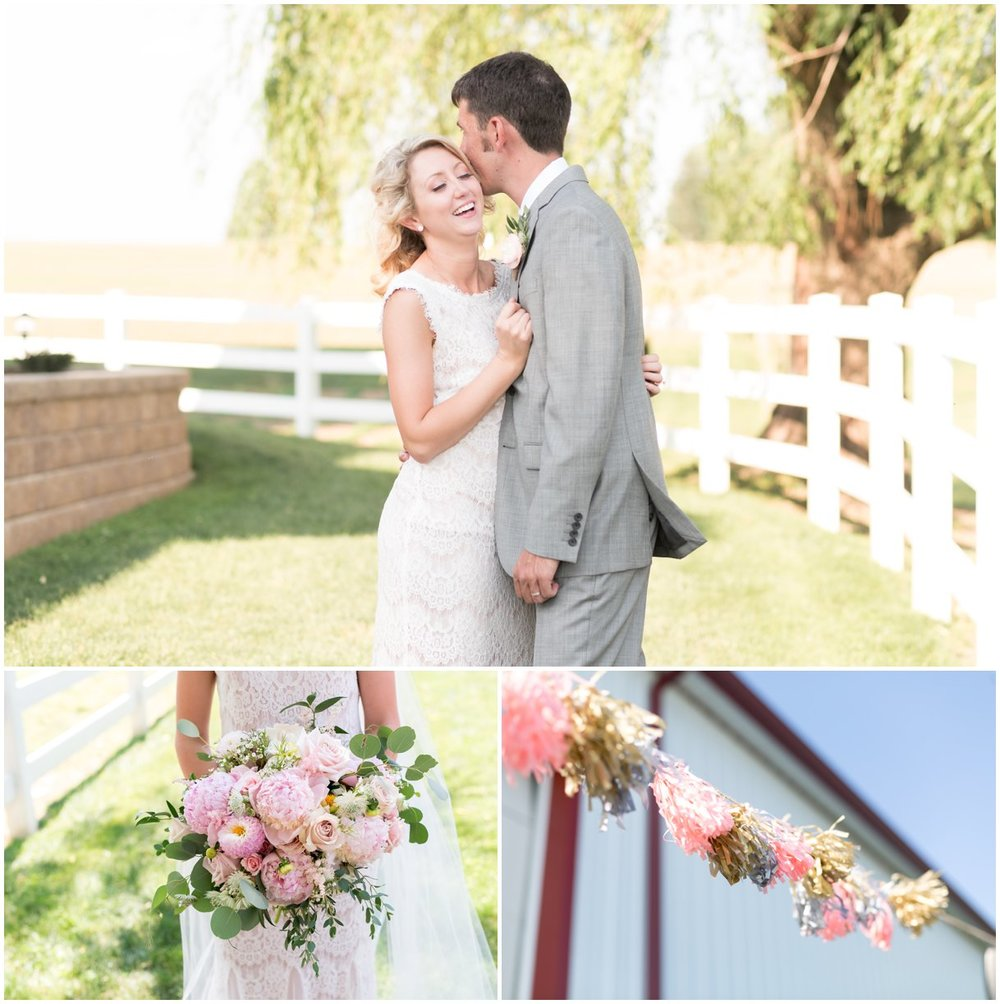 Lancaster PA outdoor farm wedding with blush and grey colors in summer photos