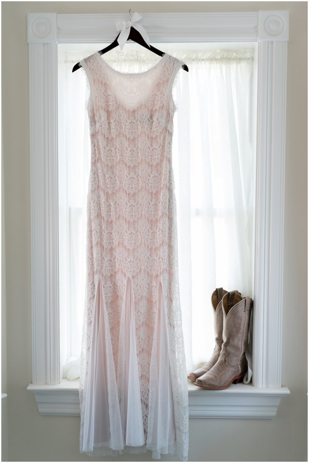 Bridal gown and boots for a Lancaster Summer outdoor farm wedding photo