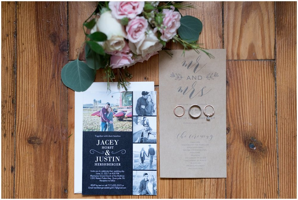 Invitation from a summer farm wedding in Lancaster Pa on a summer day photo