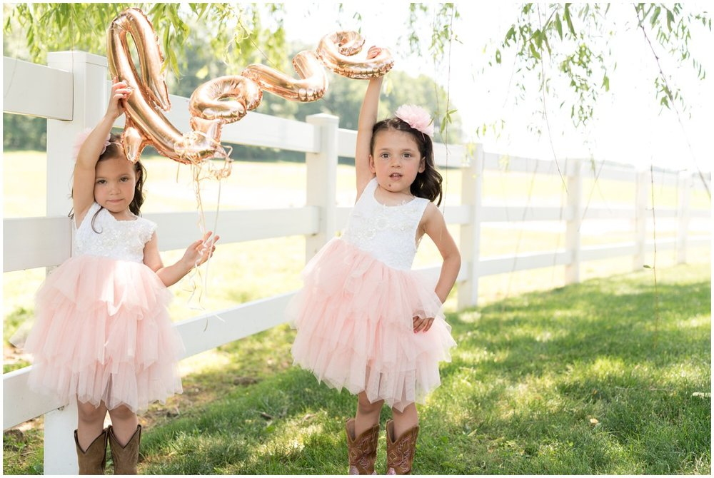 Flowergirls celebrate the wedding day at Lancaster PA farm outdoor wedding photo