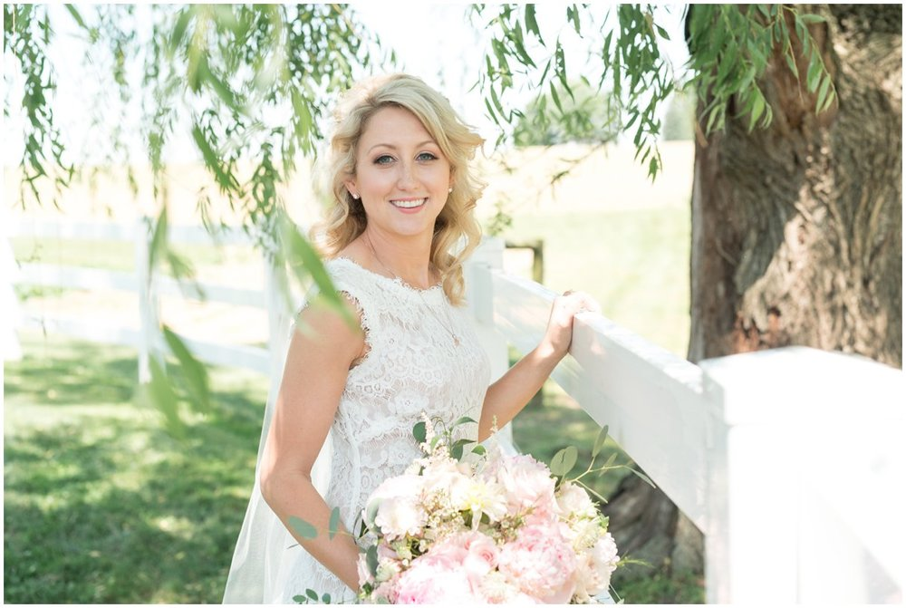 Bridal portrait at Lancaster PA family farm outdoor wedding photo