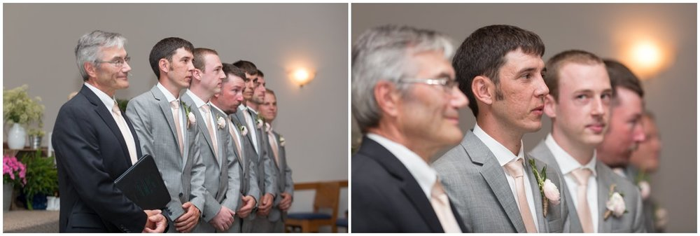 Groom seeing bride walk down the aisle Lancaster PA wedding photo