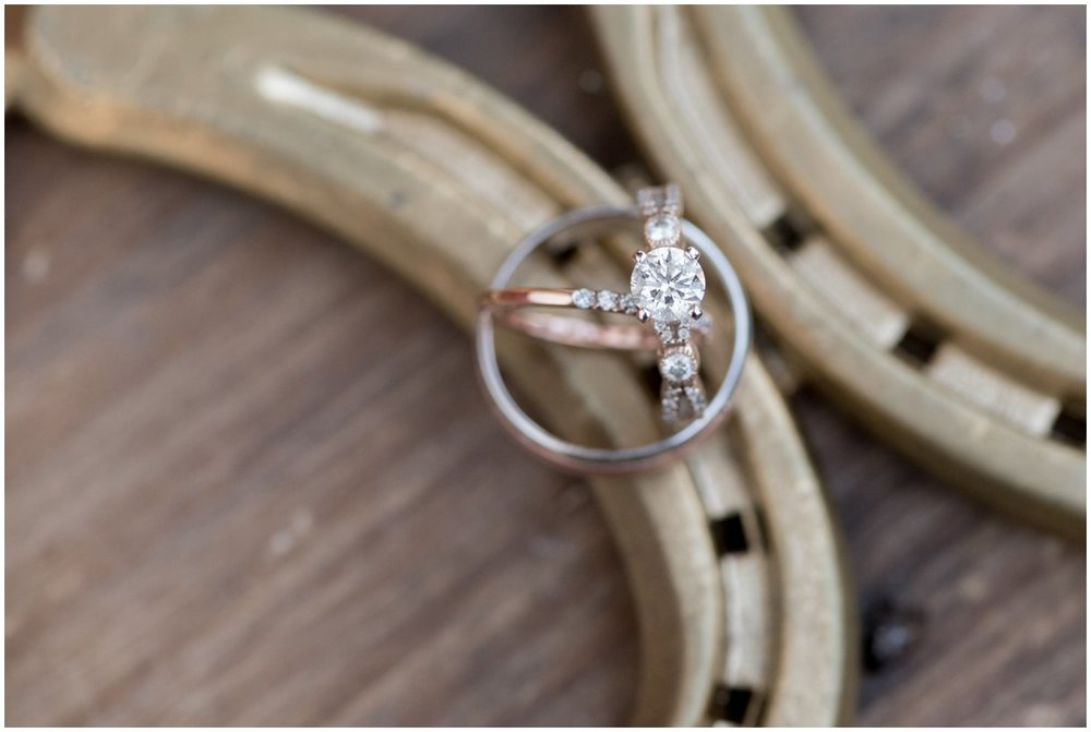 Diamond rose gold bridal set Lancaster PA farm wedding photo
