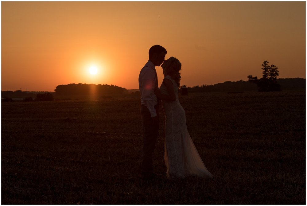 Sunset farm wedding bride and groom Lancaster PA photo