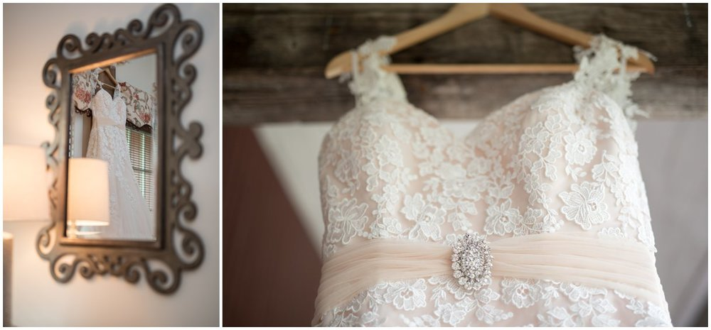 Dress details and mirror image at Pheasant Run Bed and Breakfast Lancaster PA wedding photo