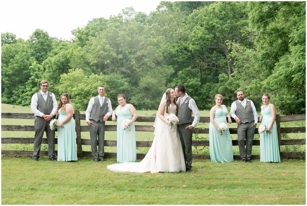Bride and Groom and bridal party  at Pheasant Run Bed and Breakfast Lancaster PA on wedding day photo