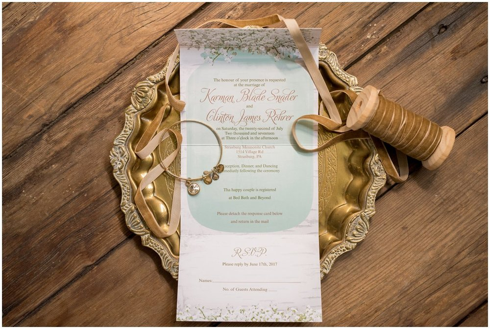 Strasburg farm wedding in Lancaster County wedding photographer invitation suite details  photo