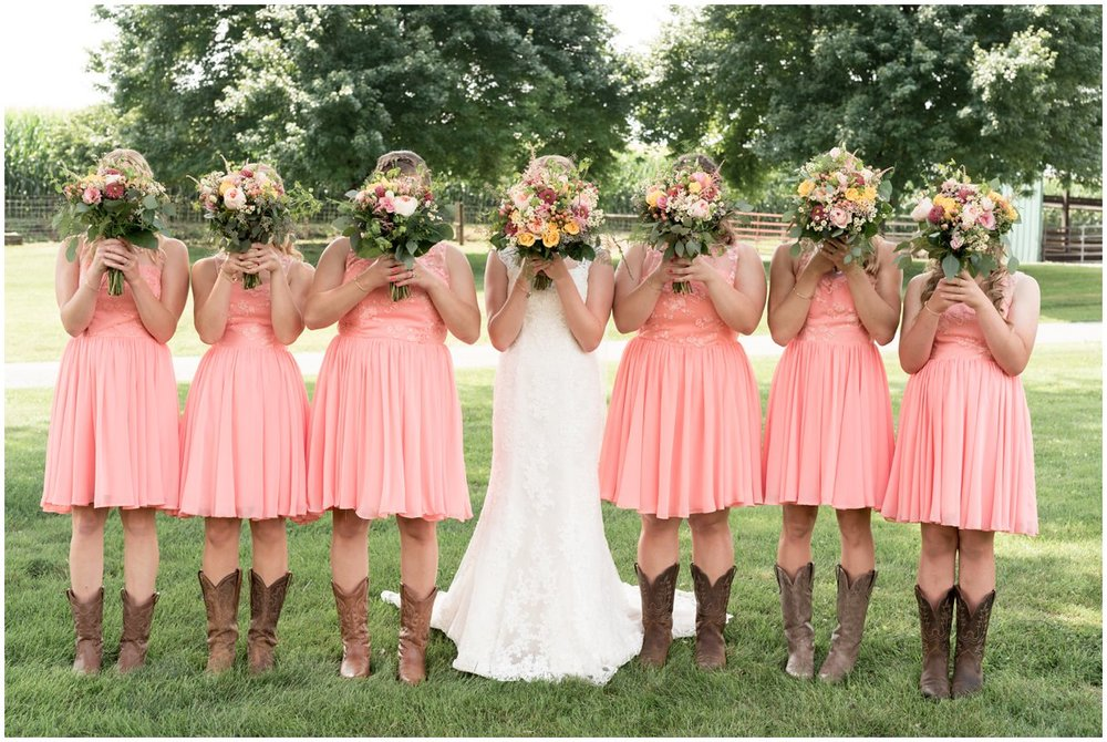 Strasburg farm wedding in Lancaster County wedding photographer bride and attendants  photo