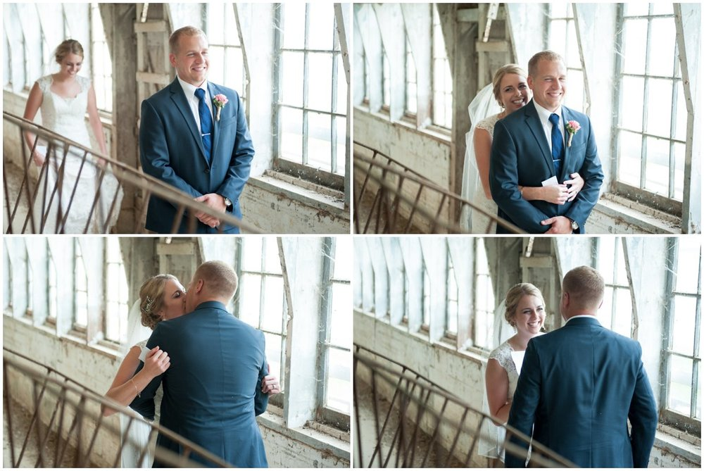 Strasburg farm wedding in Lancaster County wedding photographer first look in a barn photo