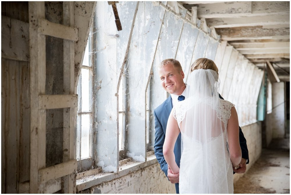 Strasburg farm wedding in Lancaster County wedding photographer first look photo