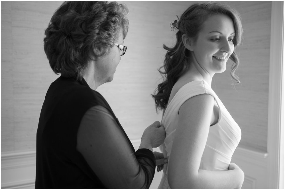 Lancaster PA bride and mom black and white getting into dress wedding day photo