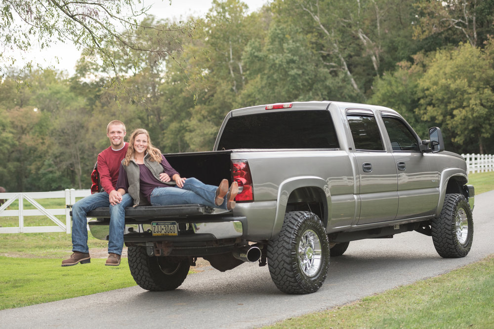 engagement photo on truck at Shallowbrook farm Lancaster Photo