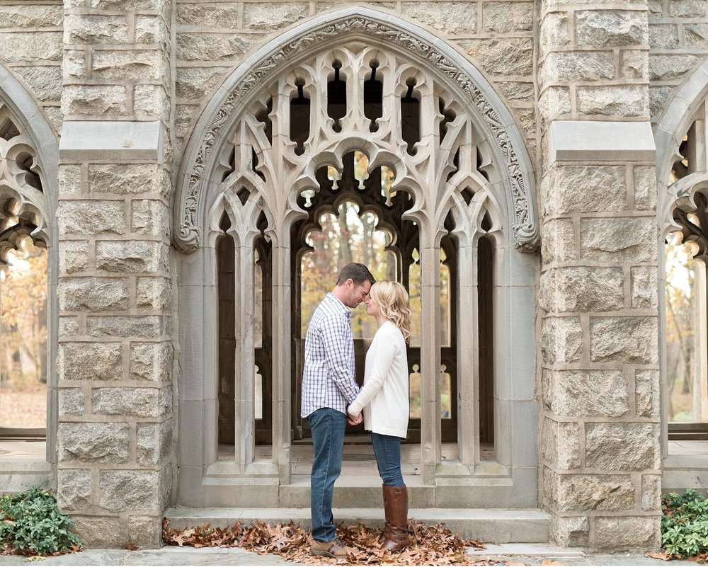 Bride and groom in Valley Forge National Park Chapel engagement session photo
