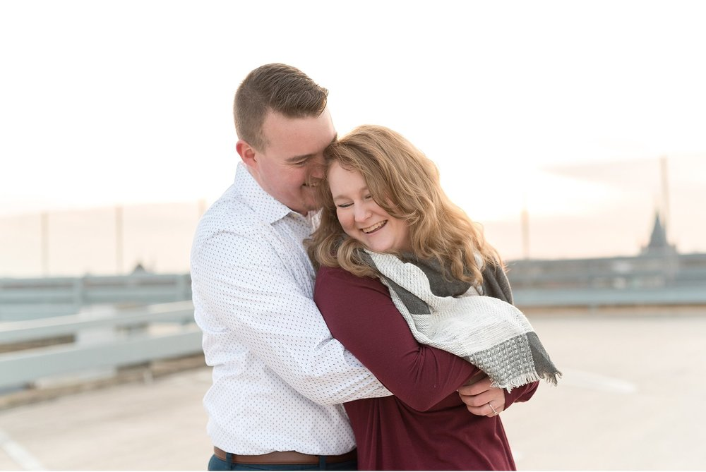 Engagement session on top of Parking garage overlooking Lancaster City PA photo
