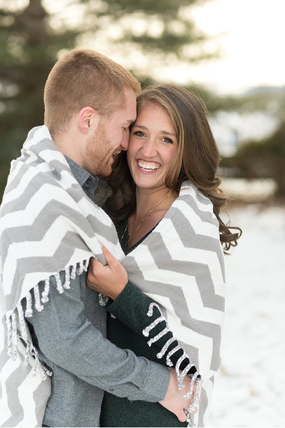 snow covered Chester County engagement session wedding photo