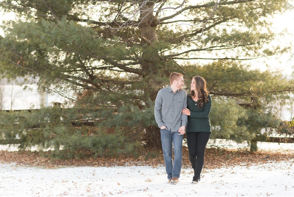Snow covered winter engagement session wedding photography