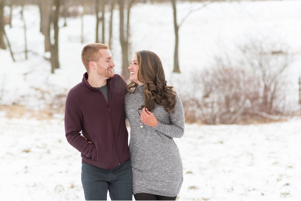 Romantic snow covered engagement session Chester County wedding photo